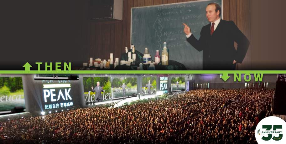 Frank at a chalkboard then, now in front of thousands of people at convention